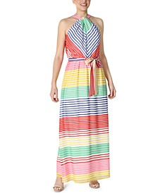 Striped Knotted-Halter Belted Maxi Dress