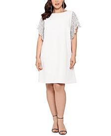 Plus Size Beaded-Sleeve Dress