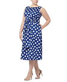 Plus Size Flapper Daisy-Print Midi Dress