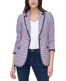 Striped Contrast-Trim Jacket
