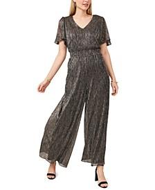 Plus Size Metallic Smocked-Waist Jumpsuit
