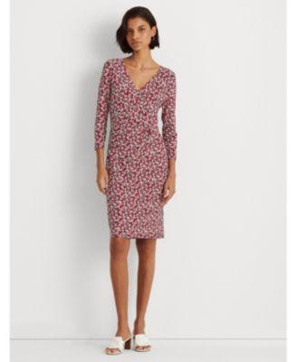 로렌 랄프로렌 Lauren Ralph Lauren Petite Floral Jersey Surplice Dress,Navy/Red Multi