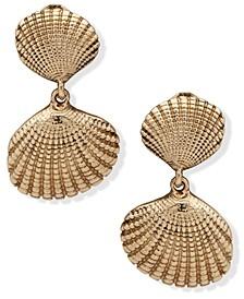 Gold-Tone Shell Double Drop Clip-On Earrings