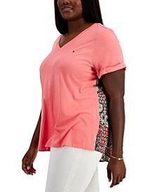 Plus Size Mixed Media V-Neck T-Shirt