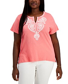 Plus Size Paisley Embroidered Top
