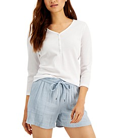 Waffle-Knit Henley T-Shirt, Created for Macy's