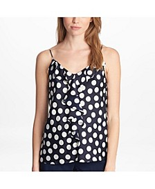 Sleeveless Ruffle Polka Dot Blouse