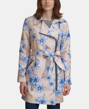 Karl Lagerfeld FLORAL PRINT MOTO TRENCH COAT