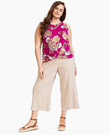 INC Plus Size Cotton Twist-Front Top, Created for Macy's