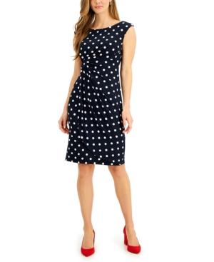 Polka Dot Ruched Sheath Dress