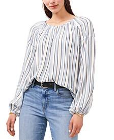 Striped Balloon-Sleeve Top