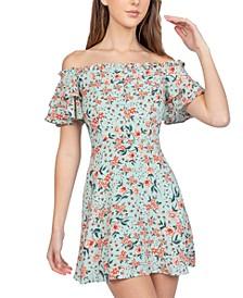 Juniors' Off-The-Shoulder Fit & Flare Dress