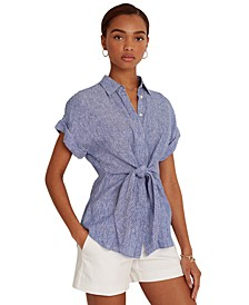 Linen Tie-Waist Top