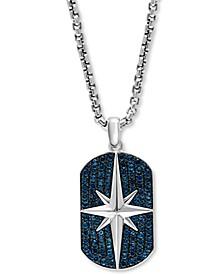 "EFFY® Men's London Blue Topaz Star 22"" Pendant Necklace (2-3/4 ct. t.w.) in Sterling Silver"