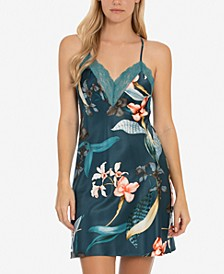 Tropical-Print Satin Chemise Nightgown