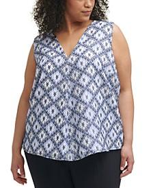Trendy Plus Size Printed V-Neck Top