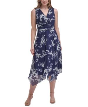 Plus Size Printed Handkerchief-Hem Dress
