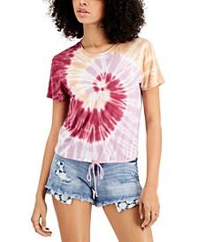 Juniors' Tie-Dyed Drawstring-Hem T-Shirt