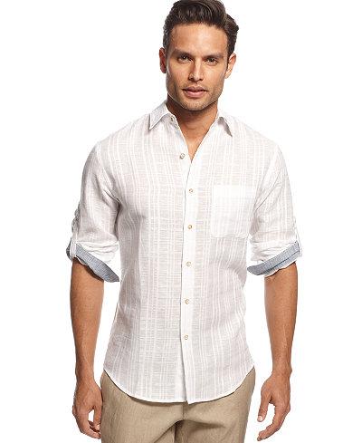 Tasso Elba Men's Textured Linen Shirt, Only at Macy's - Casual ...