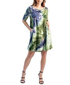 Women's Tie-dye Short Sleeve Pocket T-shirt Dress