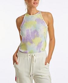 Women's Tie Dye Ribbed Halter Tank Top