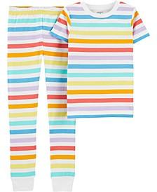 Little Boys and Girls Rainbow Snug Fit Pajama, 2 Piece Set