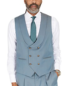 Men's Classic-Fit Solid Teal Suit Separates Double-Breasted Vest