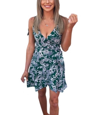 Women's Floral Wrap Frill Dress