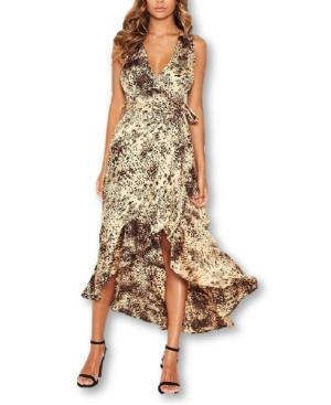 Women's Animal Print Wrap Frill Hem Maxi Dress
