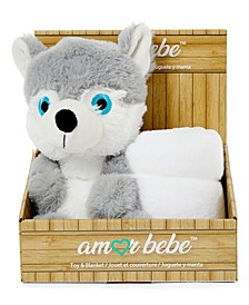 Boys and Girls Plush Wolf with Blanket