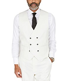 Men's Classic-Fit Solid White Suit Separates Double-Breasted Vest
