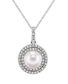 """Cultured Freshwater Pearl 7-7.5mm and Diamond 1/4 ct. tw. Pendant 18"""" Necklace in 14k White Gold"""