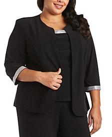 Plus Size 2-Pc. Embellished-Trim Top & Jacket Set