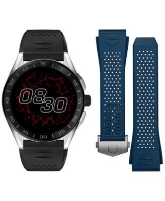 Connected Men's Black Rubber Strap Smart Watch 45mm
