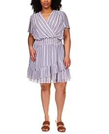 Plus Size Striped Surplice-Neck Dress