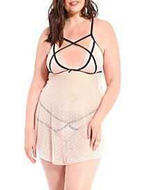 Candice Plus Size Strappy Dotted Mesh Baby doll and Strappy Panty Set, 2 Piece