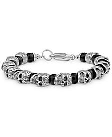Men's Onyx Skull Bracelet  in Stainless Steel