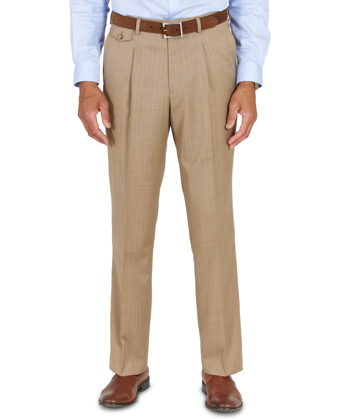 1950s Men's Pants, Trousers, Shorts | Rockabilly Jeans, Greaser Styles Tayion Collection Mens Classic-Fit Taupe with Teal Stripe Suit Separates Pants $50.00 AT vintagedancer.com
