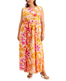 Plus Size Printed Double-Ruffle Tie-Front Maxi Dress