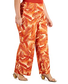 INC Plus Size Printed Wide-Leg Pants, Created for Macy's