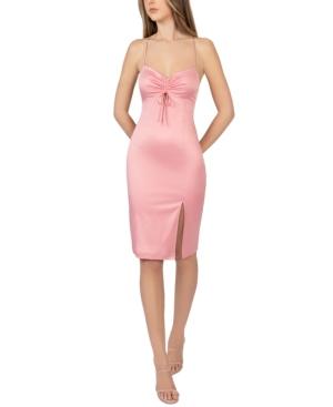 Juniors' Tied-Bust Front-Slit Dress