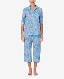 Women's 3/4 Sleeve Capri Woven Pajama Set