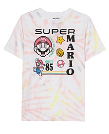 Big Boys Super Mario Tie Dye Short Sleeve Graphic T-shirt
