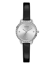 Women's Glitz Silver-Toned Black Patent Leather Watch 30mm