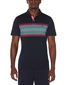Men's Neon Striped Polo Shirt