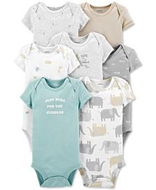 Baby 7-Pk. Cotton Animal-Print Bodysuits