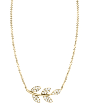 Diamond 1/8 ct. t.w. Olive Branch Necklace in 10K Yellow Gold