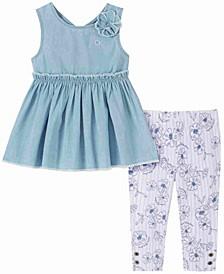 Little Girls Denim Tunic Top and Print Capri Leggings Set, 2 Piece