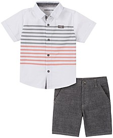 Toddler Boys Woven Shirt with Stripes Chambray Short Set, 2 Piece