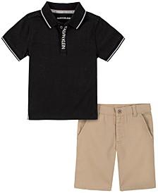 Little Boys Knit Polo with Khaki Twill Short Set, 2 Piece